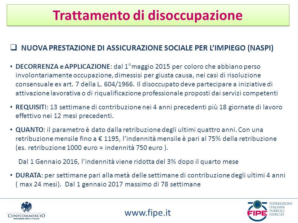 www.fipe.it Trattamento di disoccupazione  NUOVA PRESTAZIONE DI ASSICURAZIONE SOCIALE PER L'IMPIEGO (NASPI) DECORRENZA e APPLICAZIONE: dal 1°maggio 2