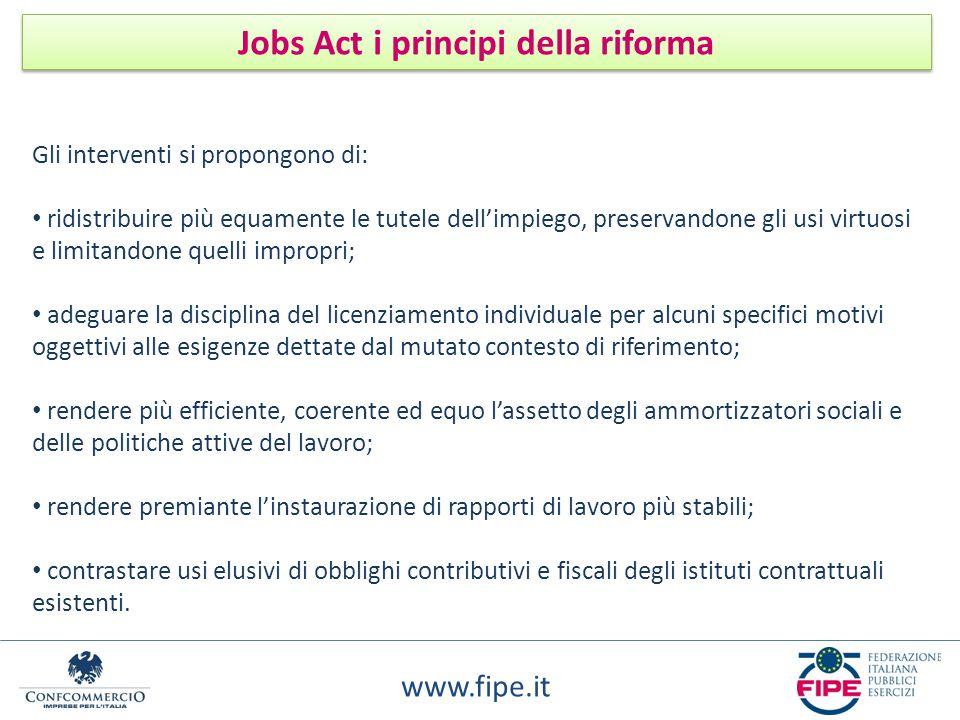 www.fipe.it Jobs Act i principi della riforma Gli interventi si propongono di: ridistribuire più equamente le tutele dell'impiego, preservandone gli u