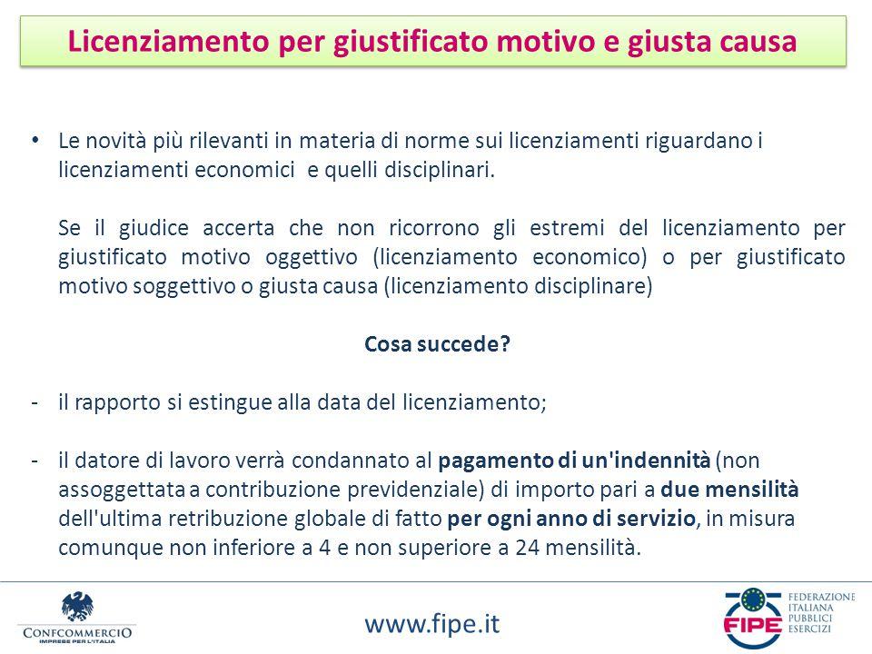 www.fipe.it Licenziamento per giustificato motivo e giusta causa Le novità più rilevanti in materia di norme sui licenziamenti riguardano i licenziame