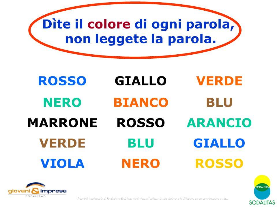 Dìte il colore di ogni parola, non leggete la parola.