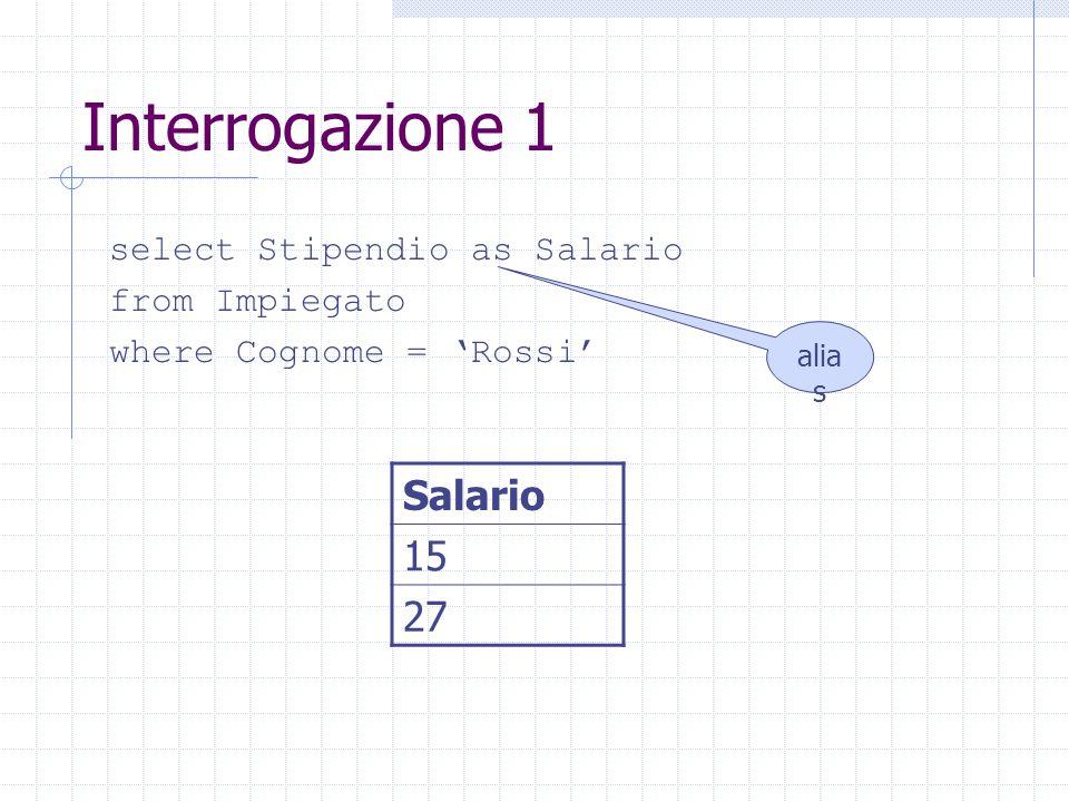 Interrogazione 1 select Stipendio as Salario from Impiegato where Cognome = 'Rossi' Salario 15 27 alia s