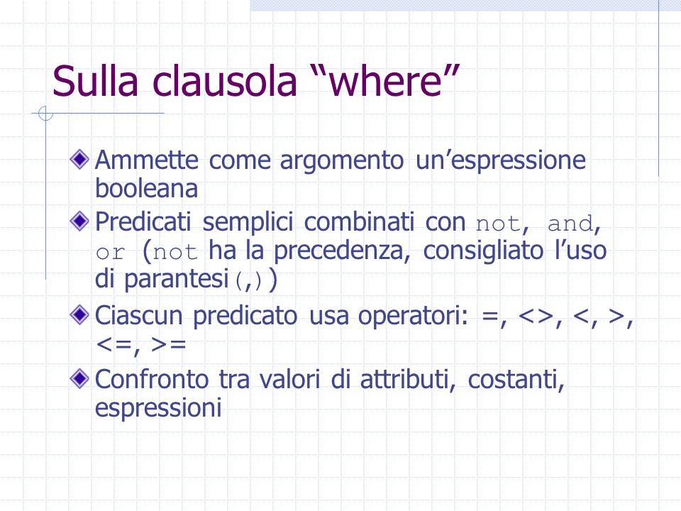 """Sulla clausola """"where"""" Ammette come argomento un'espressione booleana Predicati semplici combinati con not, and, or ( not ha la precedenza, consigliat"""