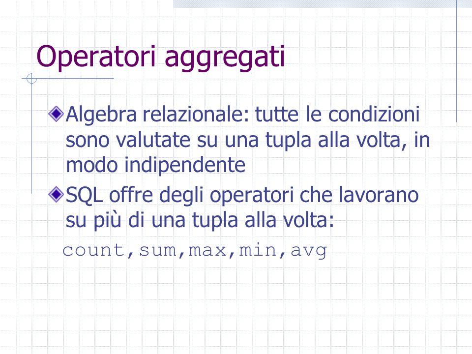 Operatori aggregati Algebra relazionale: tutte le condizioni sono valutate su una tupla alla volta, in modo indipendente SQL offre degli operatori che lavorano su più di una tupla alla volta: count,sum,max,min,avg