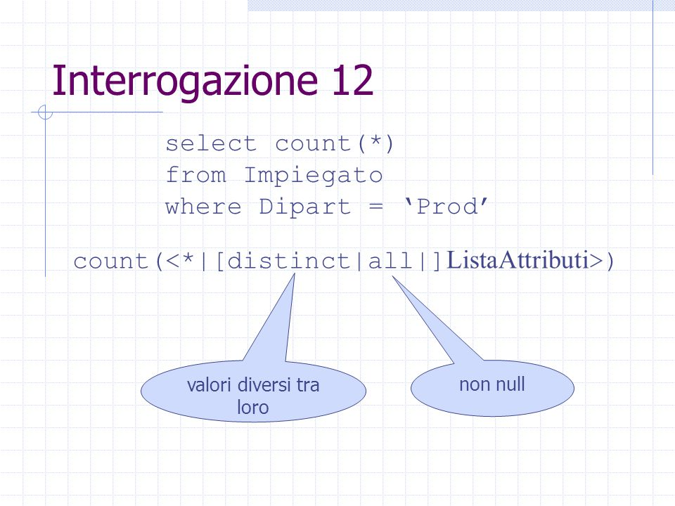 Interrogazione 12 select count(*) from Impiegato where Dipart = 'Prod' count( ) valori diversi tra loro non null