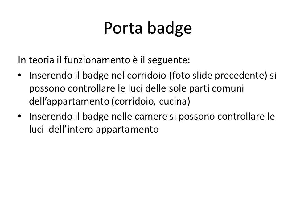 Porta badge In teoria il funzionamento è il seguente: Inserendo il badge nel corridoio (foto slide precedente) si possono controllare le luci delle sole parti comuni dell'appartamento (corridoio, cucina) Inserendo il badge nelle camere si possono controllare le luci dell'intero appartamento