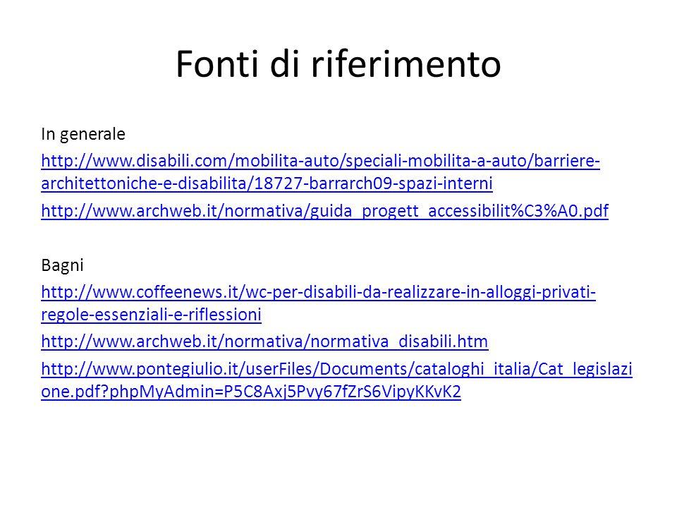 Fonti di riferimento In generale http://www.disabili.com/mobilita-auto/speciali-mobilita-a-auto/barriere- architettoniche-e-disabilita/18727-barrarch09-spazi-interni http://www.archweb.it/normativa/guida_progett_accessibilit%C3%A0.pdf Bagni http://www.coffeenews.it/wc-per-disabili-da-realizzare-in-alloggi-privati- regole-essenziali-e-riflessioni http://www.archweb.it/normativa/normativa_disabili.htm http://www.pontegiulio.it/userFiles/Documents/cataloghi_italia/Cat_legislazi one.pdf?phpMyAdmin=P5C8Axj5Pvy67fZrS6VipyKKvK2