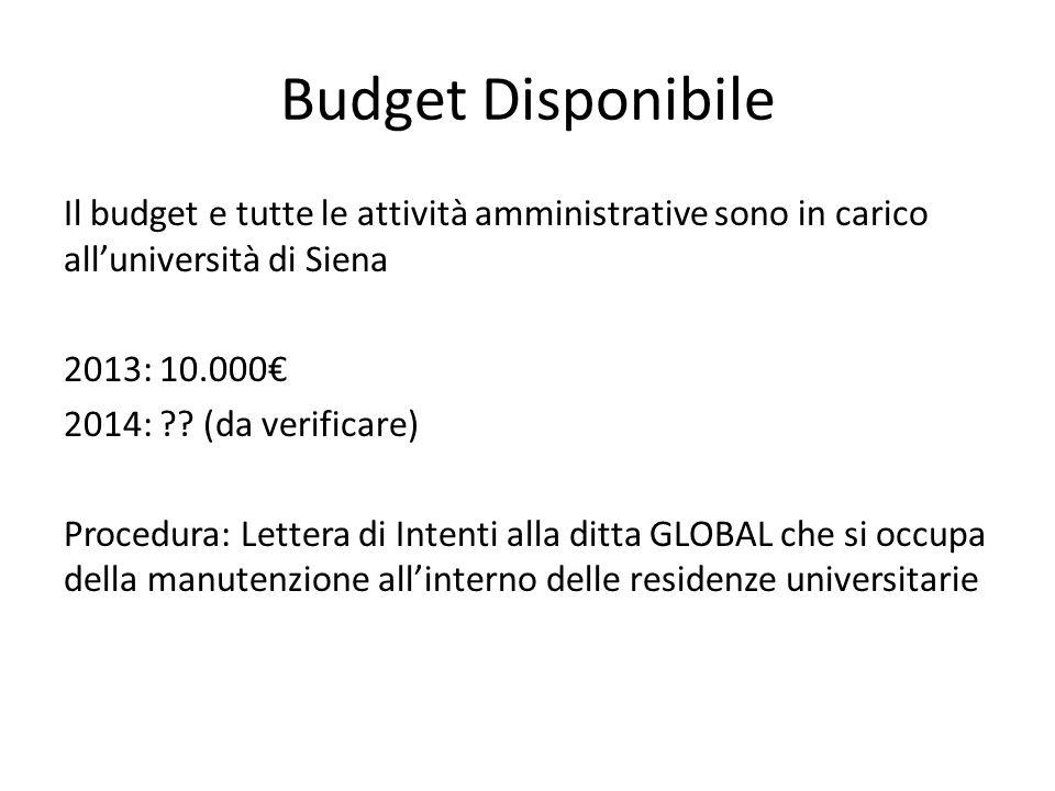 Budget Disponibile Il budget e tutte le attività amministrative sono in carico all'università di Siena 2013: 10.000€ 2014: ?.