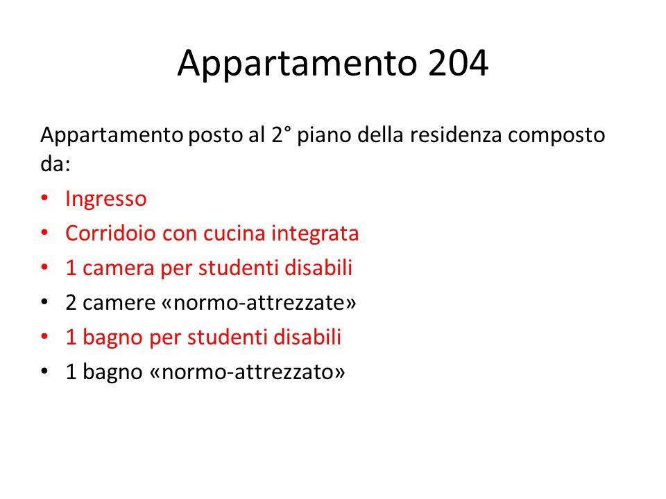 Appartamento 204 Appartamento posto al 2° piano della residenza composto da: Ingresso Corridoio con cucina integrata 1 camera per studenti disabili 2 camere «normo-attrezzate» 1 bagno per studenti disabili 1 bagno «normo-attrezzato»