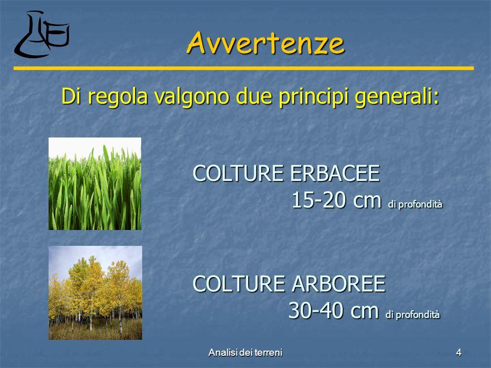 Analisi dei terreni 4 COLTURE ARBOREE 30-40 cm di profondità Avvertenze Di regola valgono due principi generali: COLTURE ERBACEE 15-20 cm di profondità