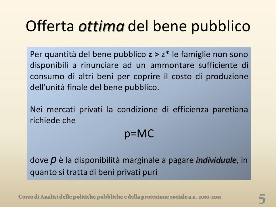 ottima Offerta ottima del bene pubblico 5 Corso di Analisi delle politiche pubbliche e della protezione sociale a.a. 2010-2011 Per quantità del bene p