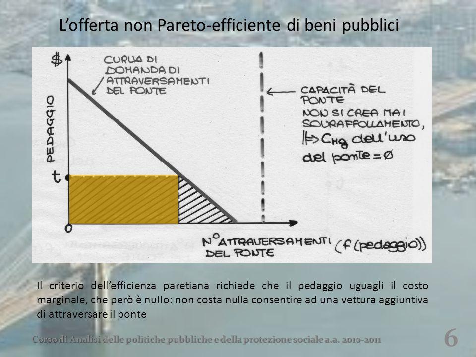 L'offerta non Pareto-efficiente di beni pubblici 6 Corso di Analisi delle politiche pubbliche e della protezione sociale a.a. 2010-2011 Il criterio de