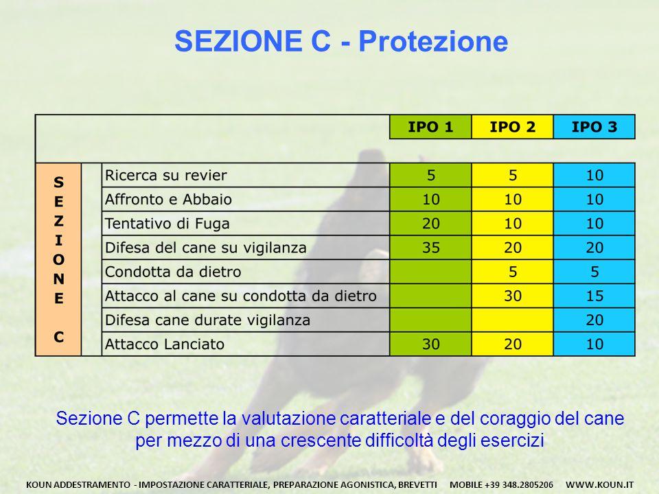 SEZIONE C - Protezione Sezione C permette la valutazione caratteriale e del coraggio del cane per mezzo di una crescente difficoltà degli esercizi KOUN ADDESTRAMENTO - IMPOSTAZIONE CARATTERIALE, PREPARAZIONE AGONISTICA, BREVETTI MOBILE +39 348.2805206 WWW.KOUN.IT