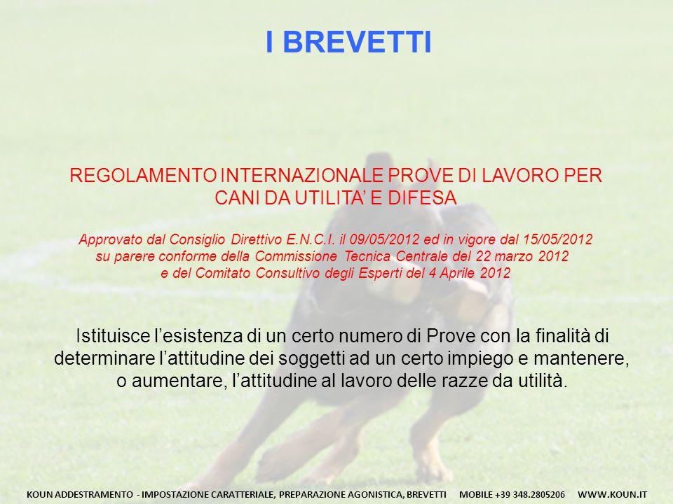 I BREVETTI REGOLAMENTO INTERNAZIONALE PROVE DI LAVORO PER CANI DA UTILITA' E DIFESA Approvato dal Consiglio Direttivo E.N.C.I. il 09/05/2012 ed in vig