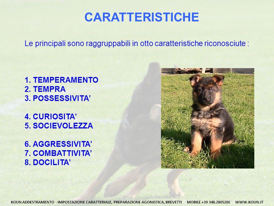 CARATTERISTICHE Le principali sono raggruppabili in otto caratteristiche riconosciute : 1.