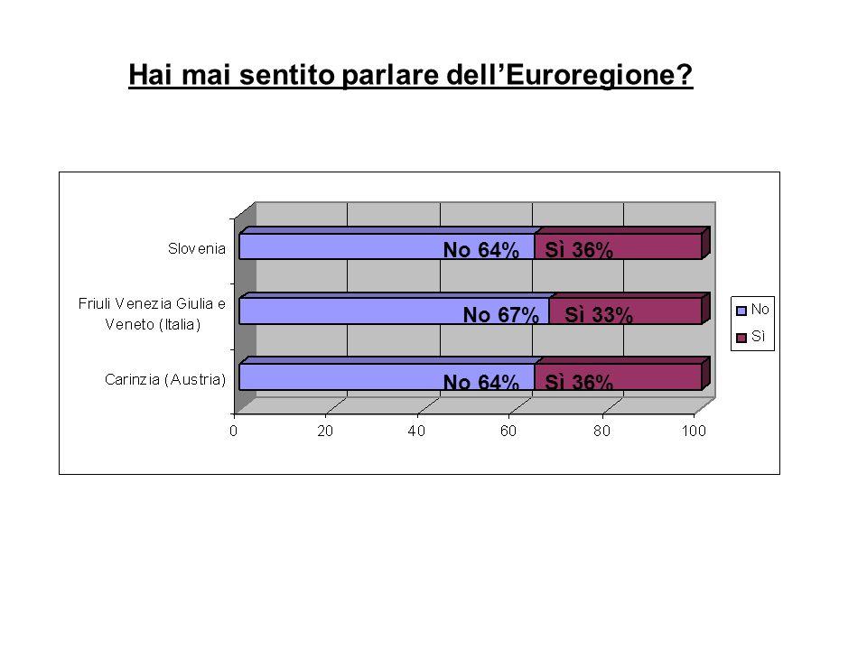 Hai mai sentito parlare dell'Euroregione? No 64% Sì 36% No 67% Sì 33% No 64% Sì 36%