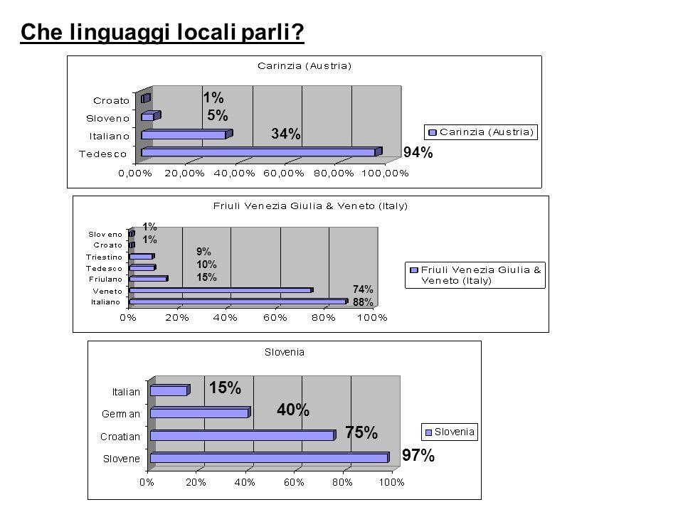Che linguaggi locali parli? 1% 5% 34% 94% 1% 1% 9% 10% 15% 74% 88% 15% 40% 75% 97%