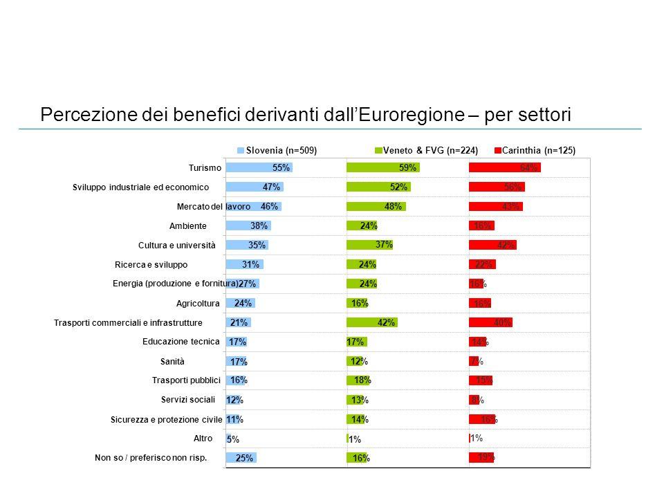 Percezione dei benefici derivanti dall'Euroregione – per settori