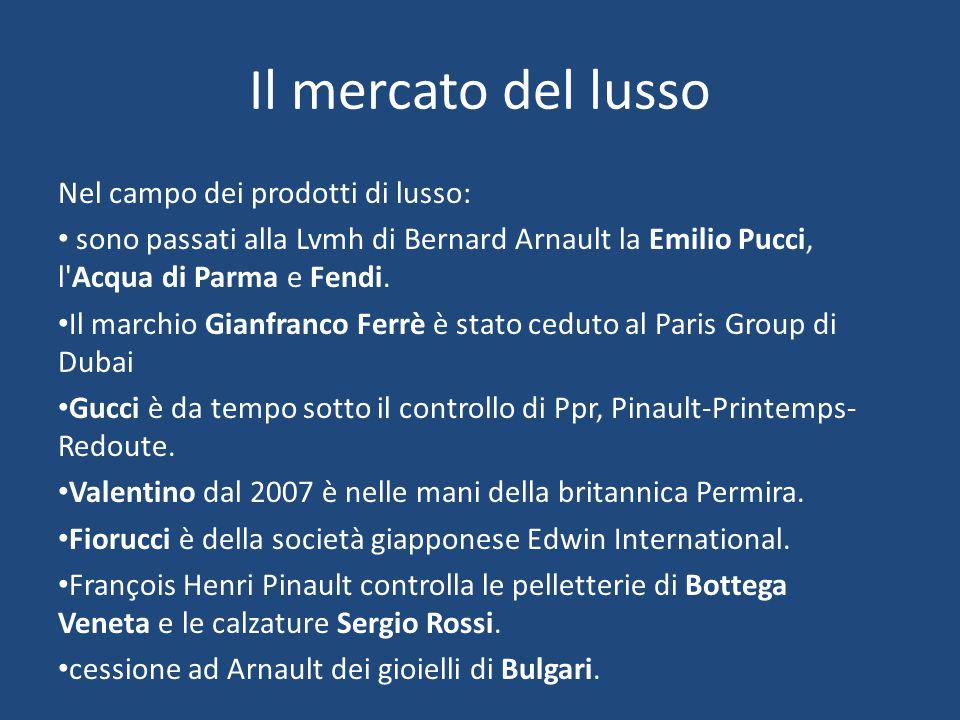 Il mercato del lusso Nel campo dei prodotti di lusso: sono passati alla Lvmh di Bernard Arnault la Emilio Pucci, l'Acqua di Parma e Fendi. Il marchio
