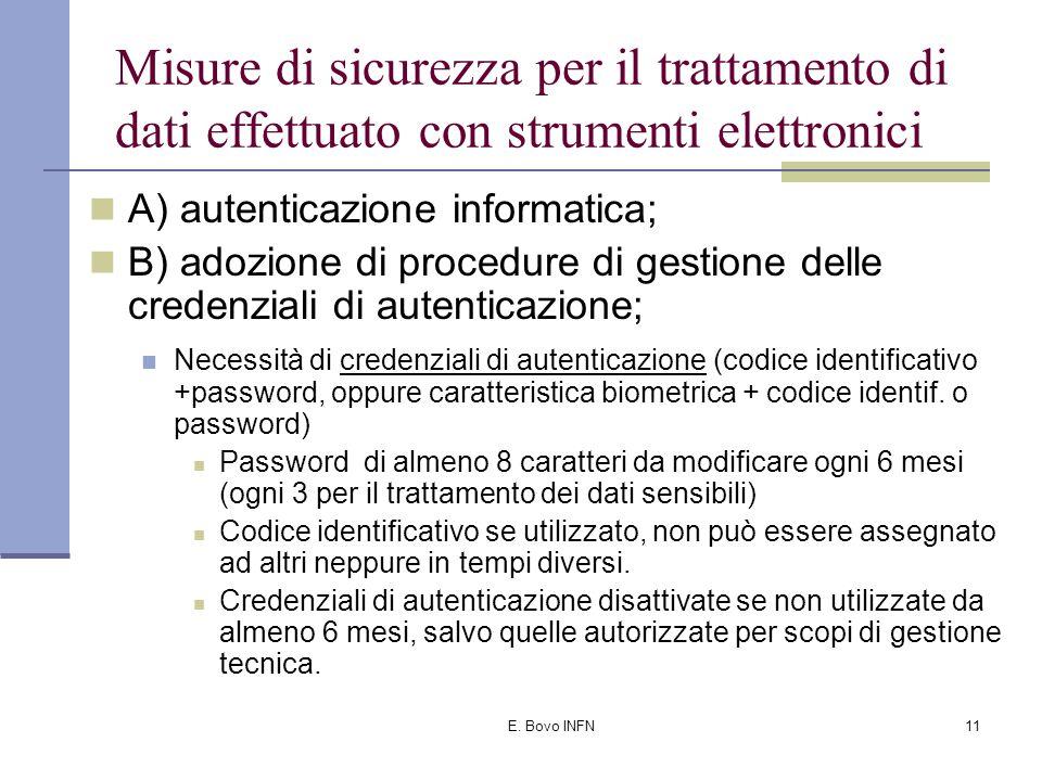 E. Bovo INFN10 Misure di sicurezza per il trattamento di dati effettuato con strumenti elettronici Trattamento consentito solo se sono adottate le seg