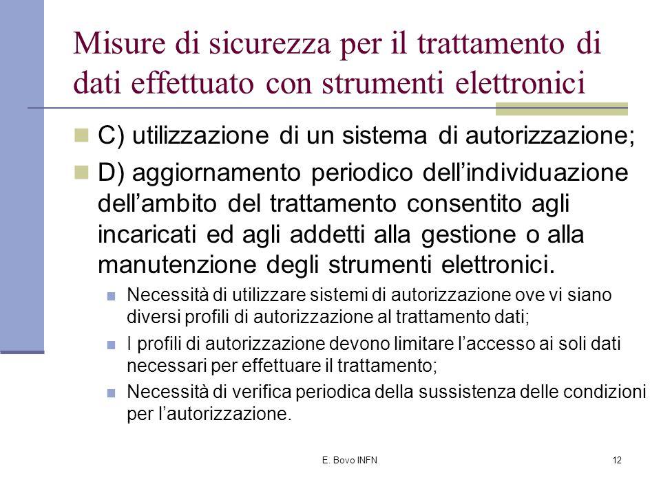 E. Bovo INFN11 Misure di sicurezza per il trattamento di dati effettuato con strumenti elettronici A) autenticazione informatica; B) adozione di proce