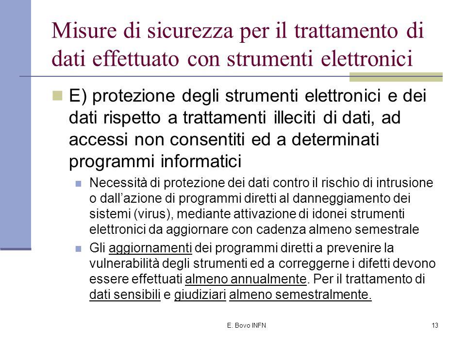 E. Bovo INFN12 Misure di sicurezza per il trattamento di dati effettuato con strumenti elettronici C) utilizzazione di un sistema di autorizzazione; D