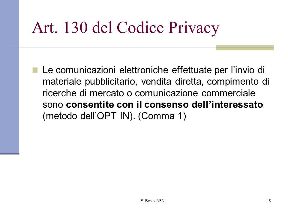 E. Bovo INFN17 Oltre all'individuazione di misure di sicurezza il Codice Privacy...