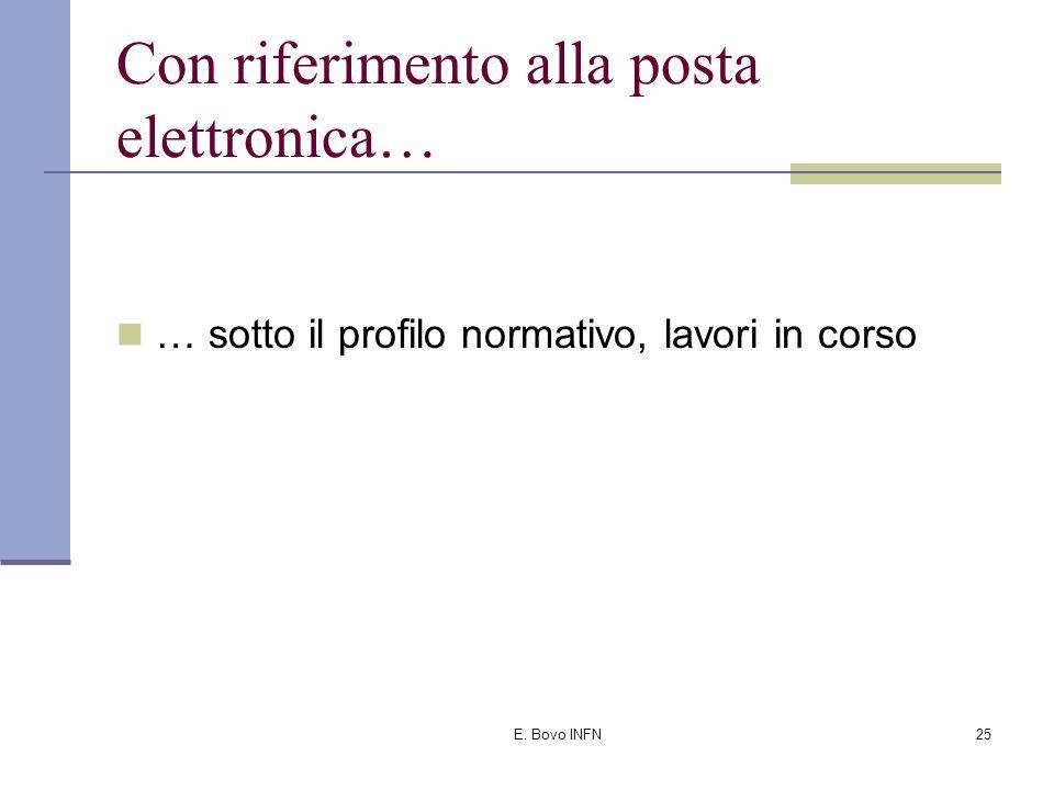 """E. Bovo INFN24 … e ribadisce che """"… la circostanza che gli indirizzi di posta elettronica possano essere reperiti con una certa facilità in internet n"""