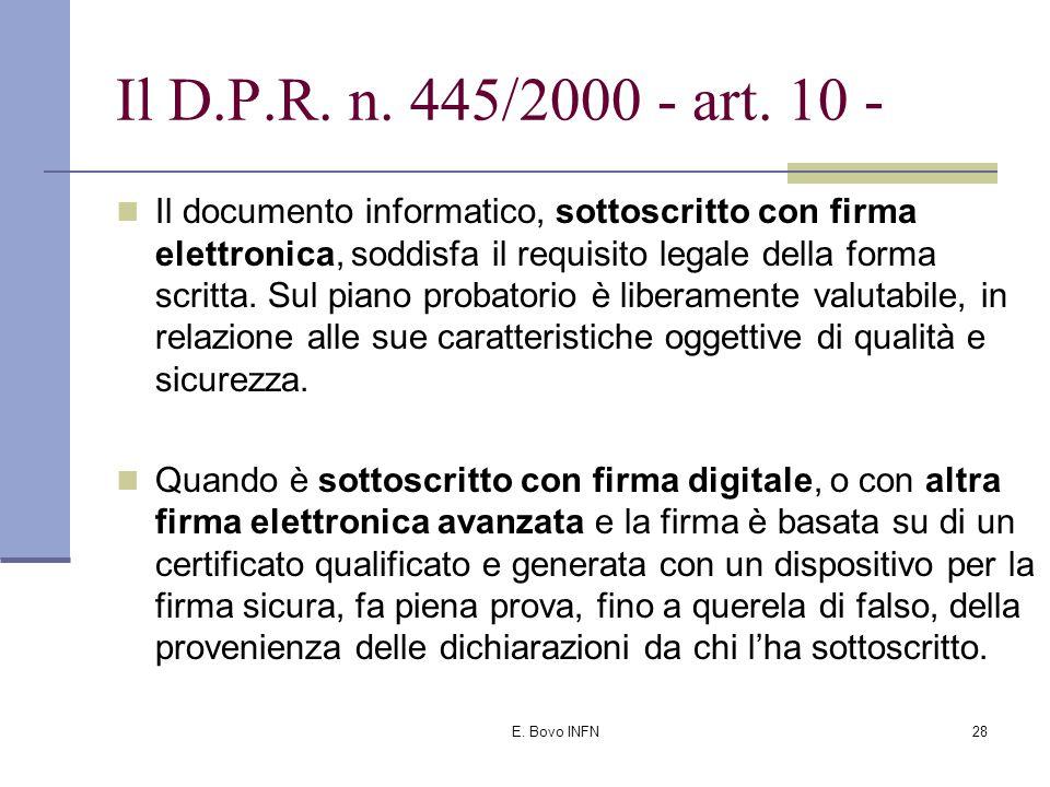 E. Bovo INFN27 Il D.P.R. n.