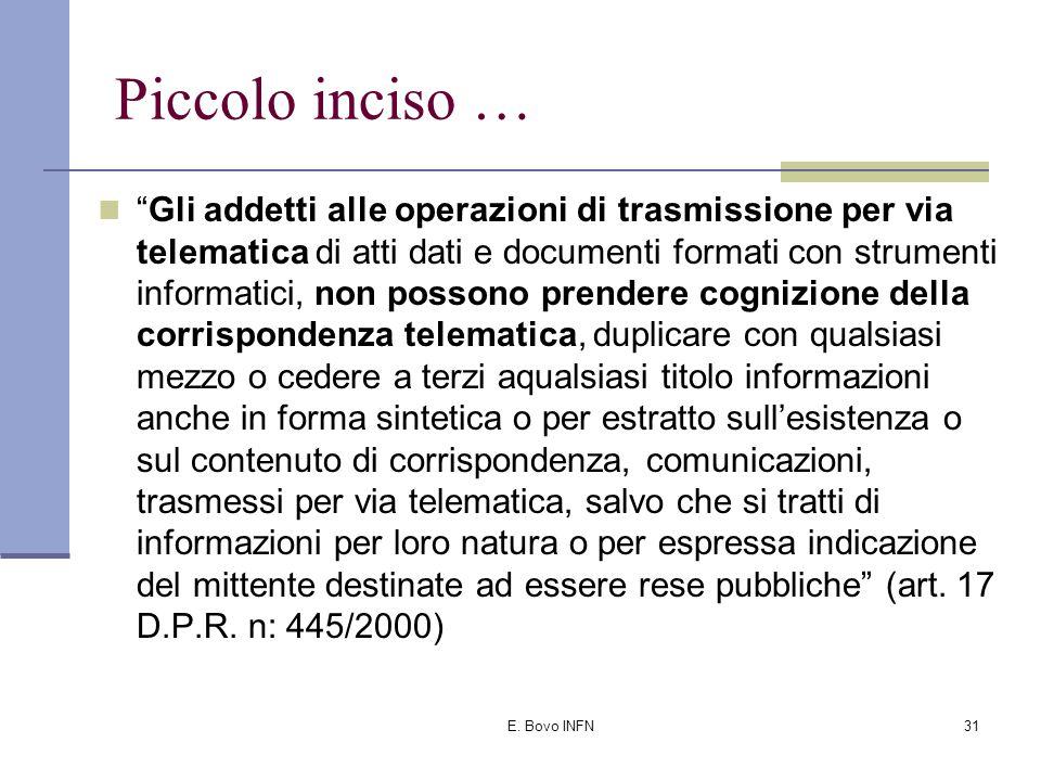 E. Bovo INFN30 Per avere efficacia un documento trasmesso per via telematica Deve essere predisposto secondo specifiche regole tecniche (recentemente
