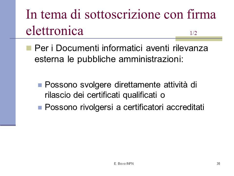 E. Bovo INFN37 In tema di sottoscrizione con firma elettronica 1/1 D.P.R.