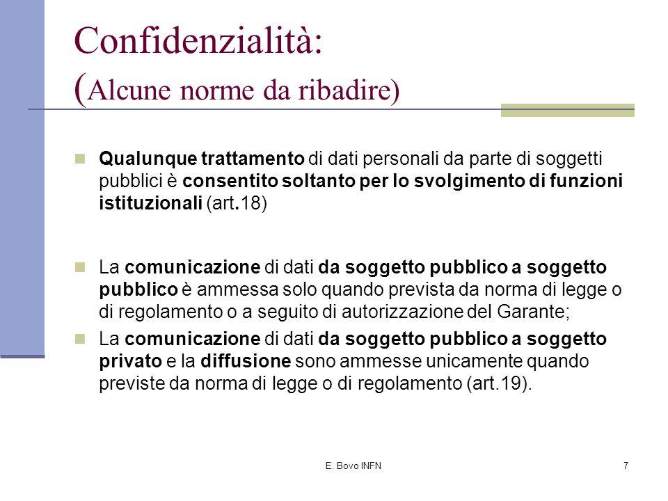 E. Bovo INFN6 Confidenzialità: Principio di necessità del trattamento (art.3): Obbligo di configurare i programmi informatici ed i sistemi informativi