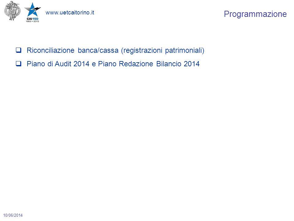 www.uetcaitorino.it 10/06/2014  Riconciliazione banca/cassa (registrazioni patrimoniali)  Piano di Audit 2014 e Piano Redazione Bilancio 2014 Programmazione