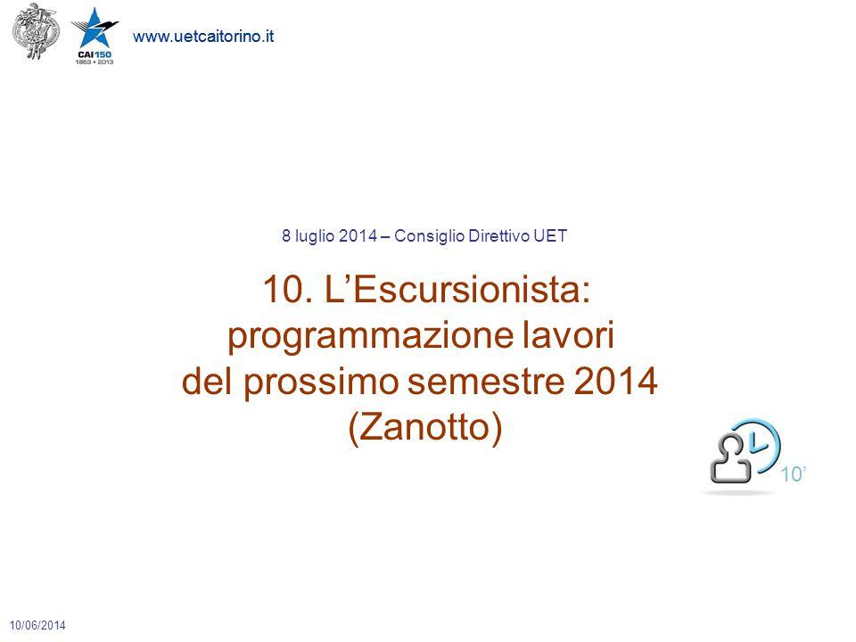 www.uetcaitorino.it 10/06/2014 8 luglio 2014 – Consiglio Direttivo UET 10. L'Escursionista: programmazione lavori del prossimo semestre 2014 (Zanotto)