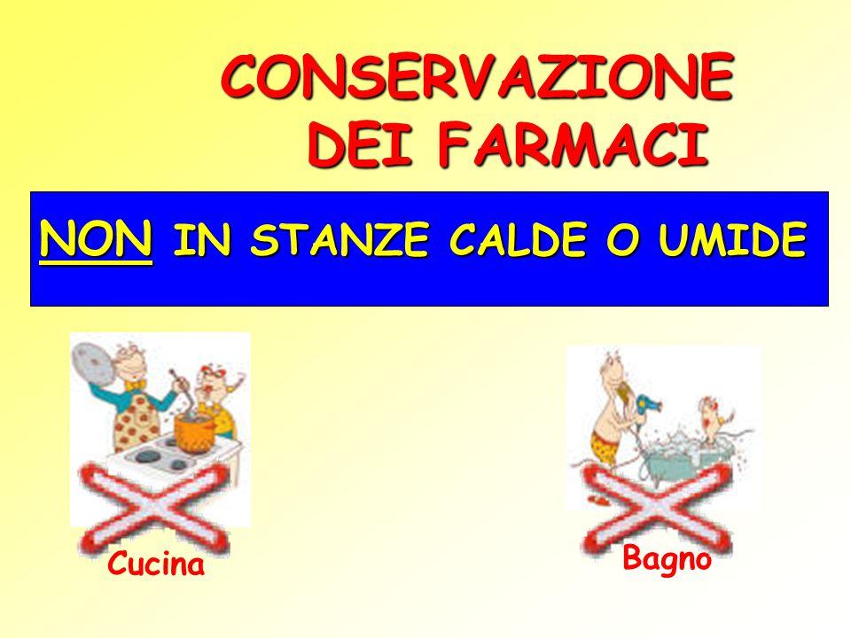 CONSERVAZIONE DEI FARMACI NON IN STANZE CALDE O UMIDE Cucina Bagno