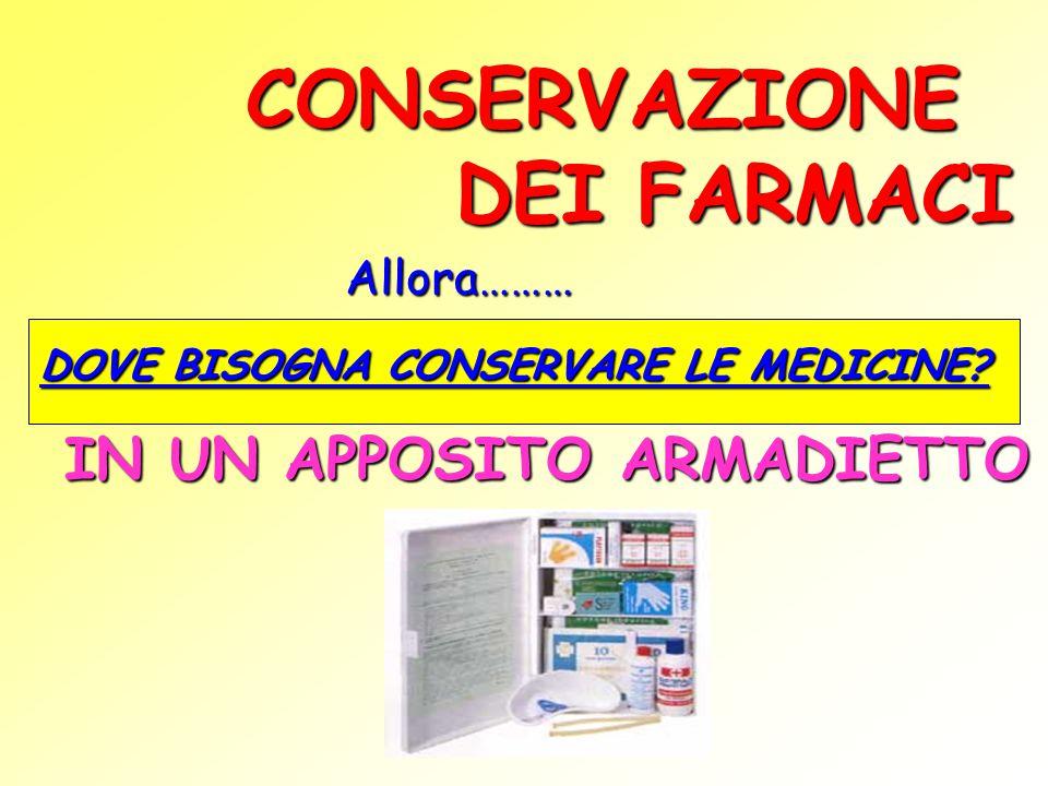 CONSERVAZIONE DEI FARMACI Allora……… DOVE BISOGNA CONSERVARE LE MEDICINE? IN UN APPOSITO ARMADIETTO