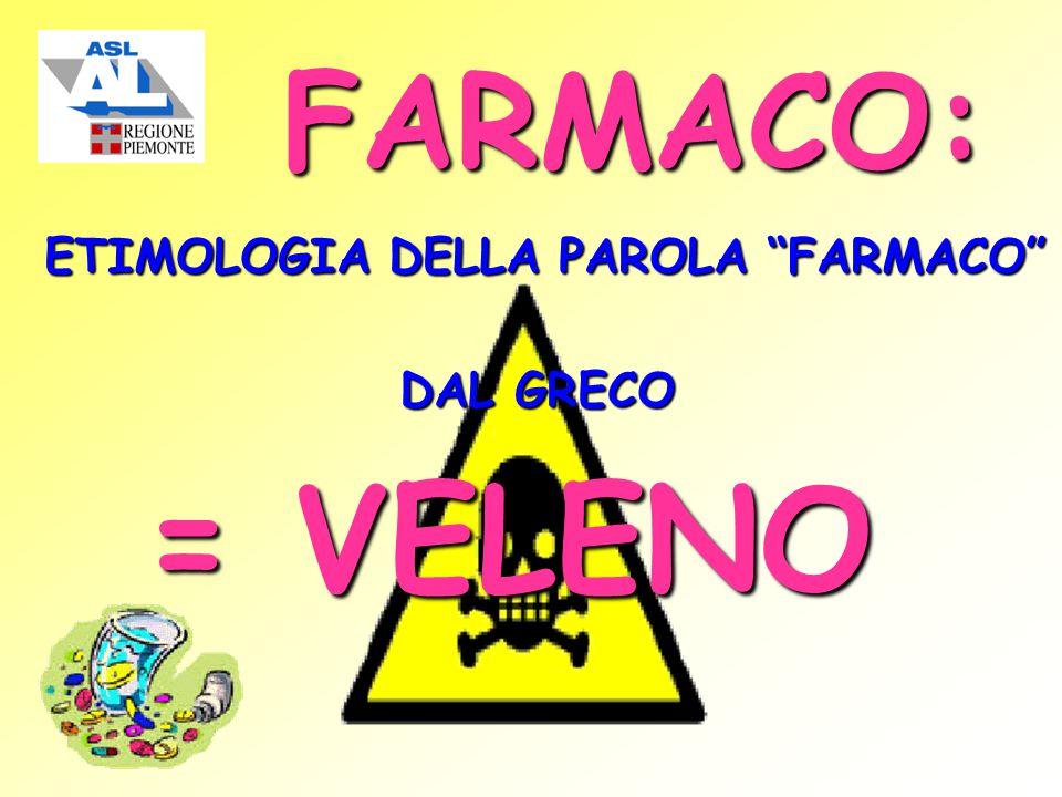 FARMACO: ETIMOLOGIA DELLA PAROLA FARMACO DAL GRECO = VELENO