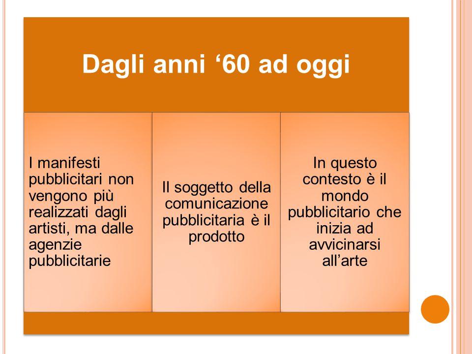 Dagli anni '60 ad oggi I manifesti pubblicitari non vengono più realizzati dagli artisti, ma dalle agenzie pubblicitarie Il soggetto della comunicazio