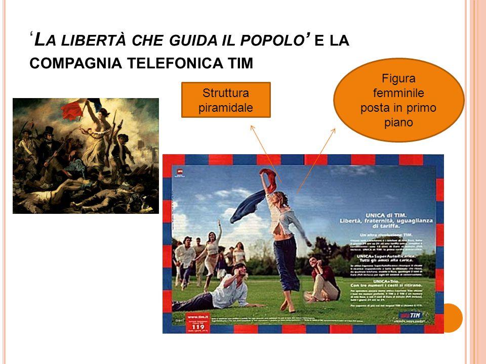 ' L A LIBERTÀ CHE GUIDA IL POPOLO ' E LA COMPAGNIA TELEFONICA TIM Figura femminile posta in primo piano Struttura piramidale