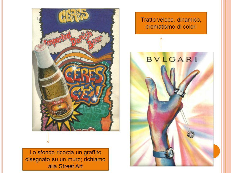 Lo sfondo ricorda un graffito disegnato su un muro; richiamo alla Street Art Tratto veloce, dinamico, cromatismo di colori