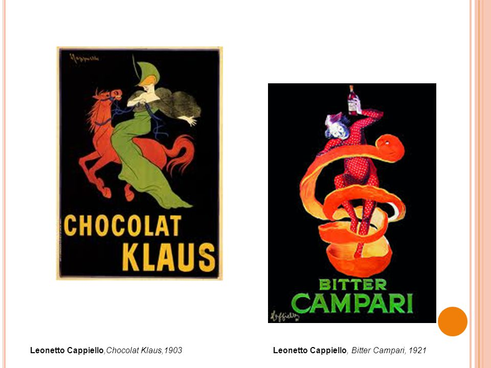 Leonetto Cappiello,Chocolat Klaus,1903Leonetto Cappiello, Bitter Campari, 1921