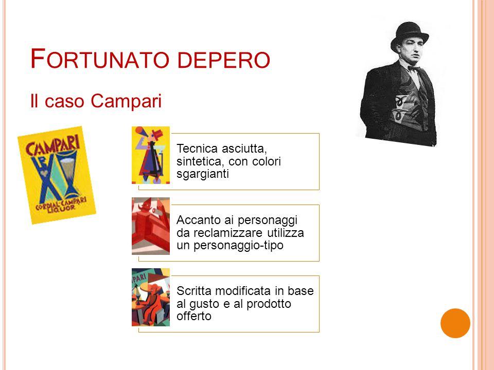F ORTUNATO DEPERO Il caso Campari Tecnica asciutta, sintetica, con colori sgargianti Accanto ai personaggi da reclamizzare utilizza un personaggio-tip