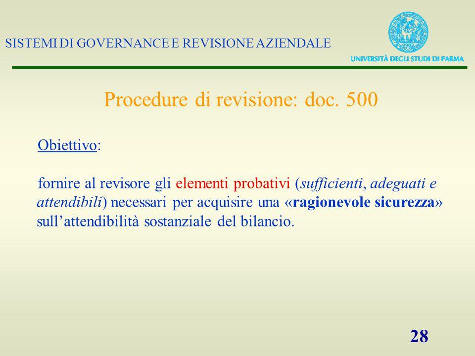 SISTEMI DI GOVERNANCE E REVISIONE AZIENDALE 28 Procedure di revisione: doc. 500 Obiettivo: fornire al revisore gli elementi probativi (sufficienti, ad