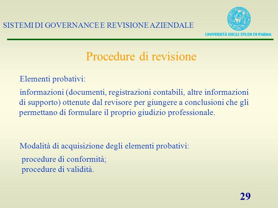 SISTEMI DI GOVERNANCE E REVISIONE AZIENDALE 29 Procedure di revisione Elementi probativi: informazioni (documenti, registrazioni contabili, altre info