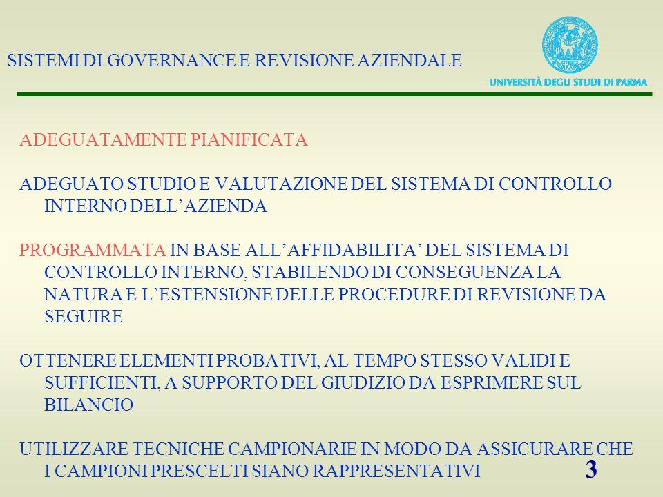 SISTEMI DI GOVERNANCE E REVISIONE AZIENDALE 3 ADEGUATAMENTE PIANIFICATA ADEGUATO STUDIO E VALUTAZIONE DEL SISTEMA DI CONTROLLO INTERNO DELL'AZIENDA PROGRAMMATA IN BASE ALL'AFFIDABILITA' DEL SISTEMA DI CONTROLLO INTERNO, STABILENDO DI CONSEGUENZA LA NATURA E L'ESTENSIONE DELLE PROCEDURE DI REVISIONE DA SEGUIRE OTTENERE ELEMENTI PROBATIVI, AL TEMPO STESSO VALIDI E SUFFICIENTI, A SUPPORTO DEL GIUDIZIO DA ESPRIMERE SUL BILANCIO UTILIZZARE TECNICHE CAMPIONARIE IN MODO DA ASSICURARE CHE I CAMPIONI PRESCELTI SIANO RAPPRESENTATIVI