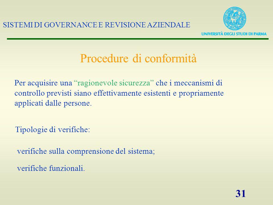 SISTEMI DI GOVERNANCE E REVISIONE AZIENDALE 31 Procedure di conformità Per acquisire una ragionevole sicurezza che i meccanismi di controllo previsti siano effettivamente esistenti e propriamente applicati dalle persone.
