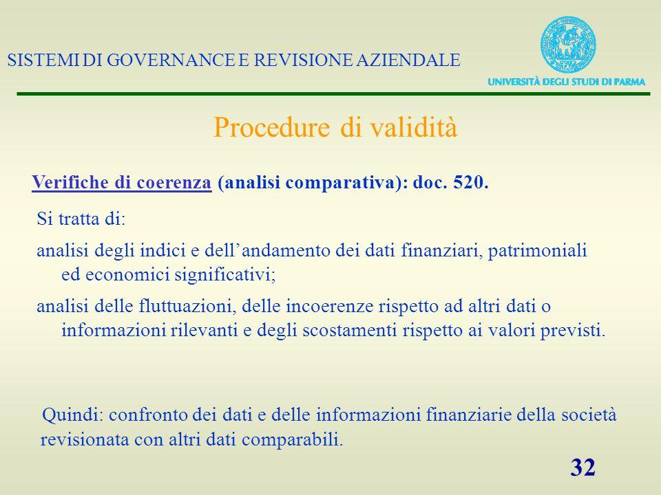 SISTEMI DI GOVERNANCE E REVISIONE AZIENDALE 32 Procedure di validità Verifiche di coerenza (analisi comparativa): doc. 520. Si tratta di: analisi degl