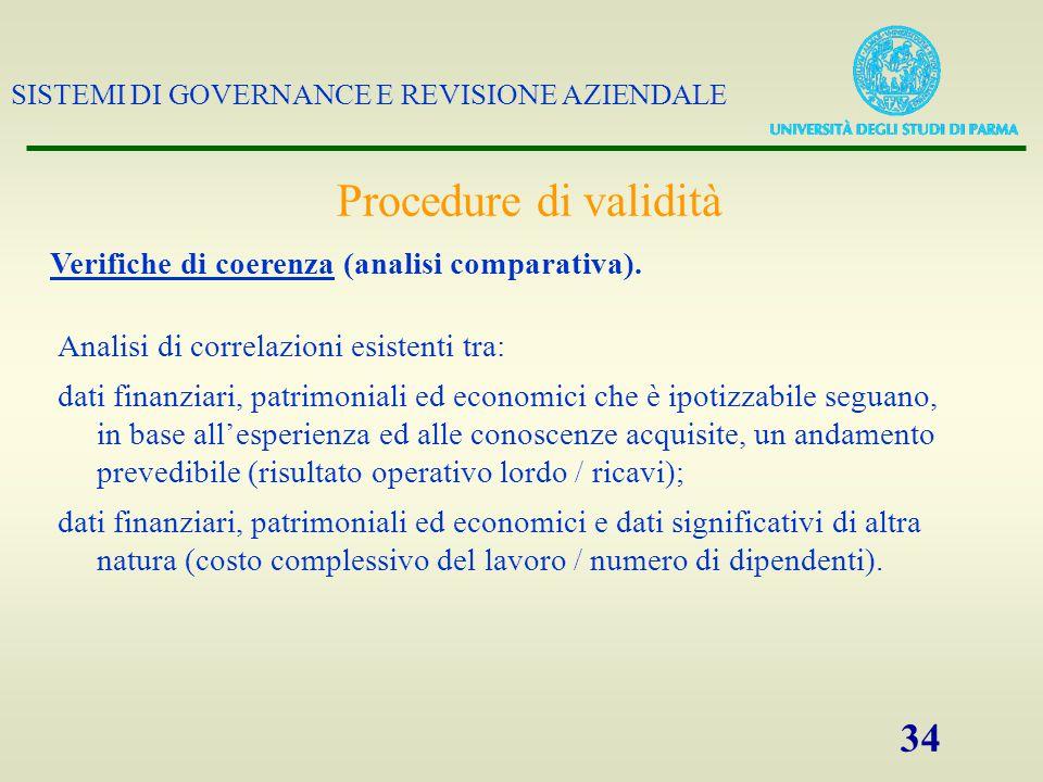 SISTEMI DI GOVERNANCE E REVISIONE AZIENDALE 34 Verifiche di coerenza (analisi comparativa). Analisi di correlazioni esistenti tra: dati finanziari, pa