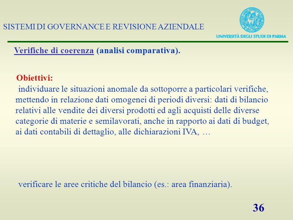 SISTEMI DI GOVERNANCE E REVISIONE AZIENDALE 36 Verifiche di coerenza (analisi comparativa). Obiettivi: individuare le situazioni anomale da sottoporre