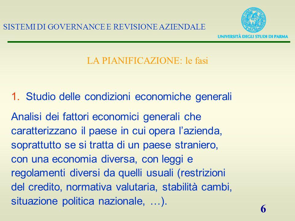 SISTEMI DI GOVERNANCE E REVISIONE AZIENDALE 6 1.Studio delle condizioni economiche generali Analisi dei fattori economici generali che caratterizzano