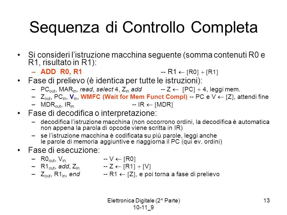 Elettronica Digitale (2^ Parte) 10-11_9 13 Sequenza di Controllo Completa Si consideri l'istruzione macchina seguente (somma contenuti R0 e R1, risultato in R1): –ADD R0, R1-- R1   R0    R1  Fase di prelievo (è identica per tutte le istruzioni): –PC out, MAR in, read, select 4, Z in add-- Z   PC   4, leggi mem.